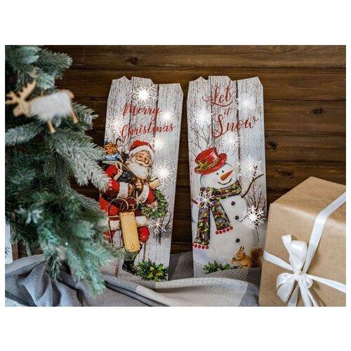 Настенное светящееся панно CHRISTMAS TIME, дерево, 6 тёплых белых LED-огней, 2.9x21x60 см, таймер, Kaemingk светящееся панно баночка снеговичков merry christmas mdf 5 тёплых белых led огней 17x27 см таймер батарейки kaemingk