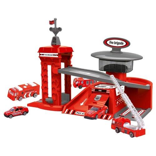 Купить Chengmei toys Пожарная станция CM559-12c красный/серый, Детские парковки и гаражи