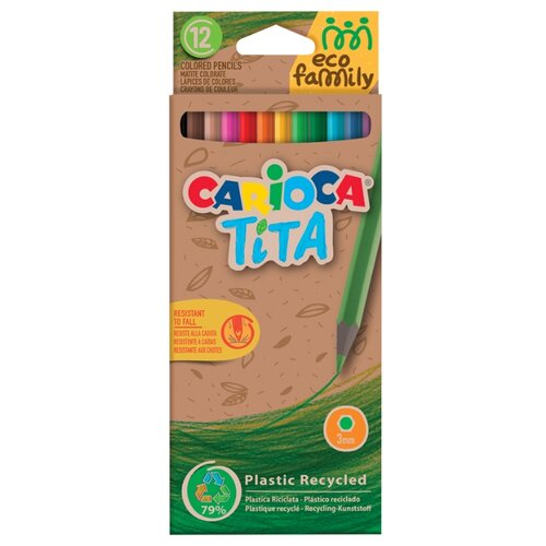Купить Carioca Карандаши цветные Tita EcoFamily, 12 цветов (43097), Цветные карандаши