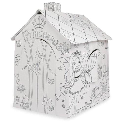 Фото - Домик Mochtoys Картонный Принцесса 11122 белый mochtoys раскраска картонный домик 10721