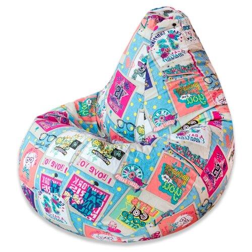 DreamBag Кресло-мешок Dream XL (классический наполнитель) голубой/розовый жаккард