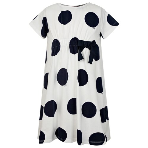 Платье Il Gufo размер 104, белый/горошек/синий