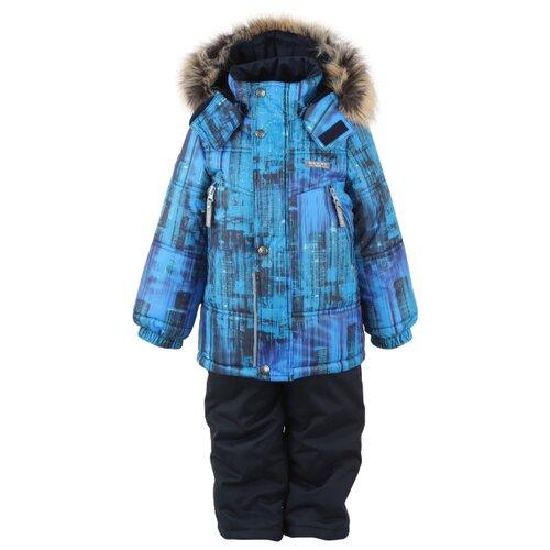 Купить Комплект с полукомбинезоном KERRY City K20436 (06001) размер 104, голубой/черный, Комплекты верхней одежды