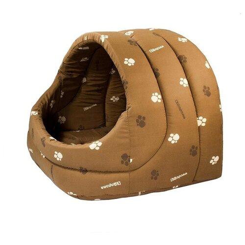 Домик для собак и кошек Дарэлл Лукошко 48х42х38 см коричневый