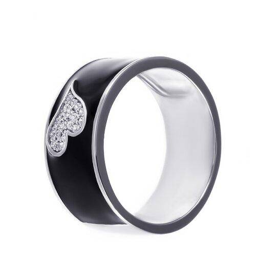 ELEMENT47 Широкое ювелирное кольцо из серебра 925 пробы с кубическим цирконием и эмалью ML12521A_KO_ENAM_001_WG, размер 17.5