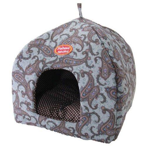 Домик для собак и кошек Родные места Избушка №1 Огурцы 42х42х50 см серый