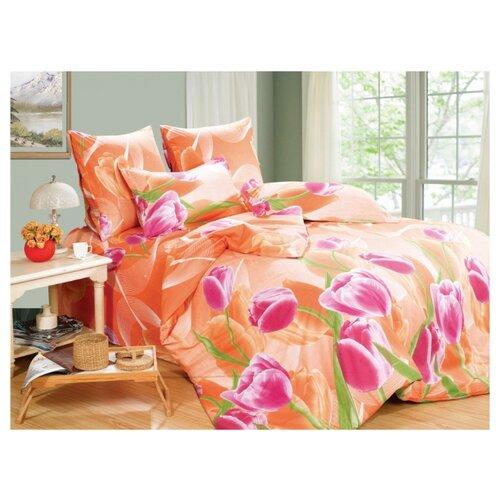 Постельное белье семейное СайлиД A-131, поплин оранжевый/розовый постельное белье сайлид а97 1 двуспальное