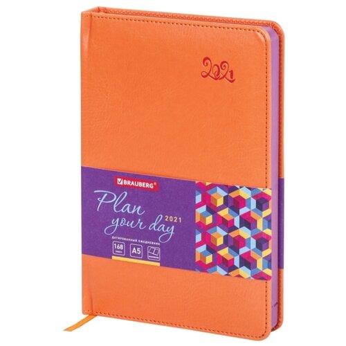 Купить Ежедневник BRAUBERG Rainbow датированный на 2021 год, искусственная кожа, А5, 168 листов, оранжевый, Ежедневники, записные книжки