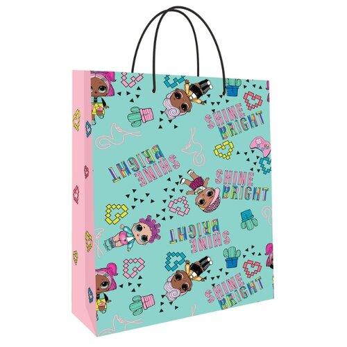 Фото - LOL. Пакет подарочный большой (мятный с розовым), 250*350*100 мм пакет подарочный nd play lol 25 х 35 х 10 см мятный розовый