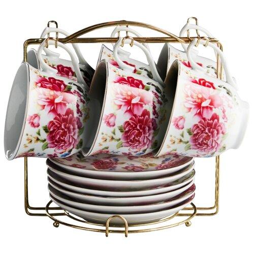 Чайный сервиз Rosario Букет пионов на металлической подставке Ф5-020К/12 белый/красный valeria lynch rosario