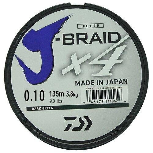 Плетеный шнур DAIWA J-Braid X4 dark green 0.1 мм 135 м 3.8 кг