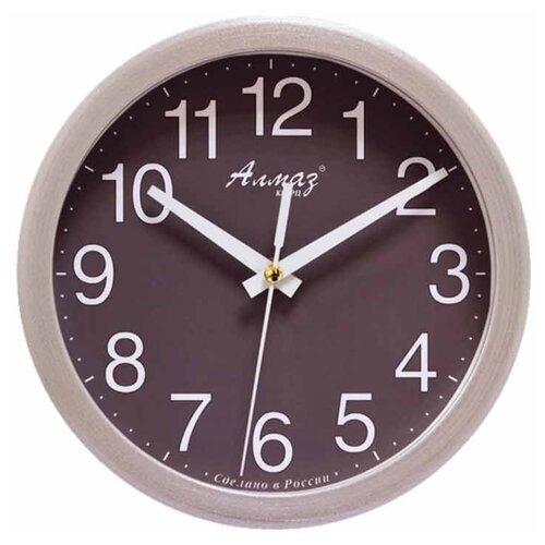 Часы настенные кварцевые Алмаз E52-E55 серебристый/серый
