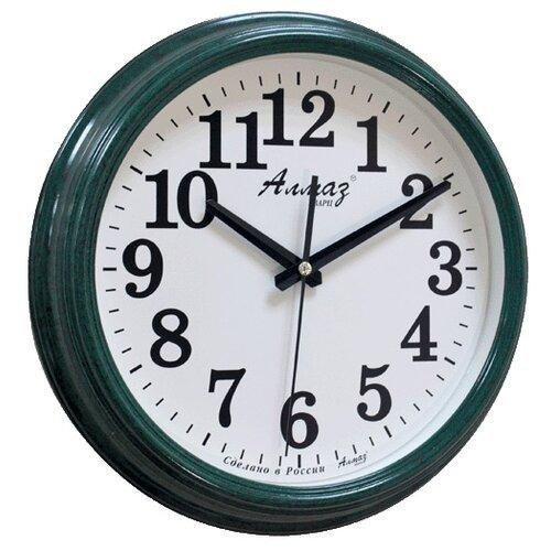 Часы настенные кварцевые Алмаз A79-A85 изумрудный/белый часы настенные кварцевые алмаз a79 a85 бежевый белый
