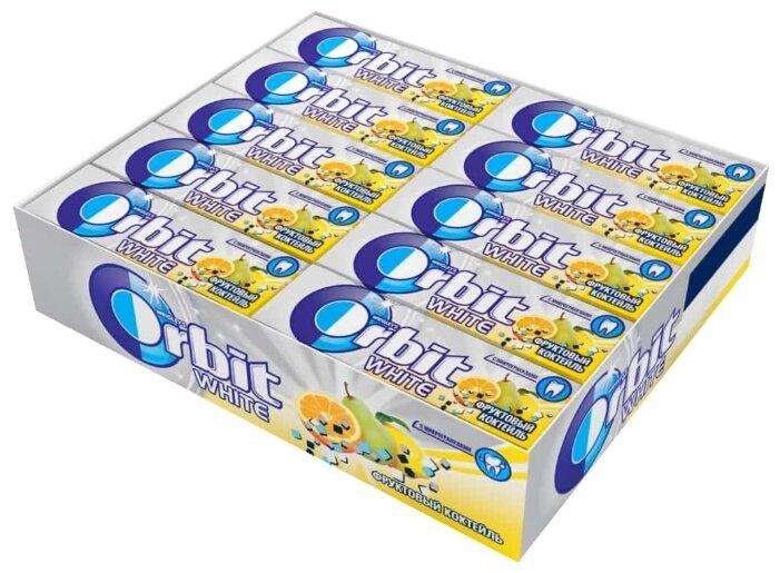Жевательная резинка Orbit White Фруктовый коктейль с микрогранулами, без сахара, 30 шт. x 13,6 г