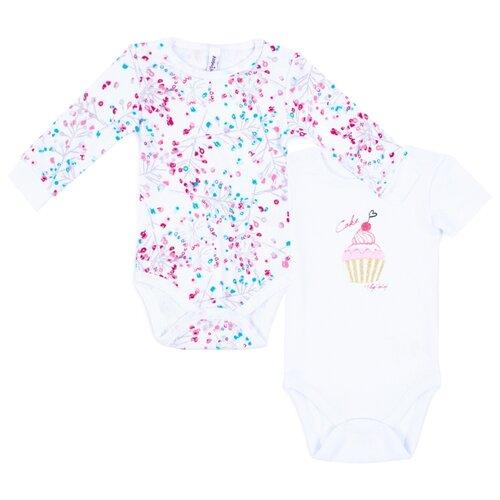 Купить Боди playToday размер 68, белый/голубой/светло-розовый
