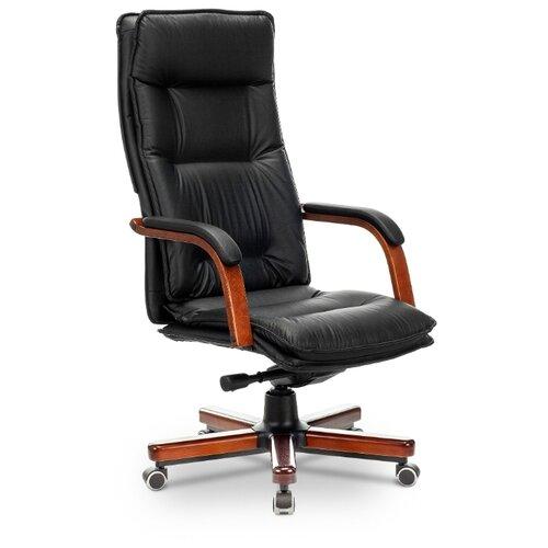 Компьютерное кресло Бюрократ T-9927WALNUT для руководителя, обивка: натуральная кожа, цвет: черный 2 компьютерное кресло бюрократ t 9927walnut low для руководителя обивка натуральная кожа цвет черный