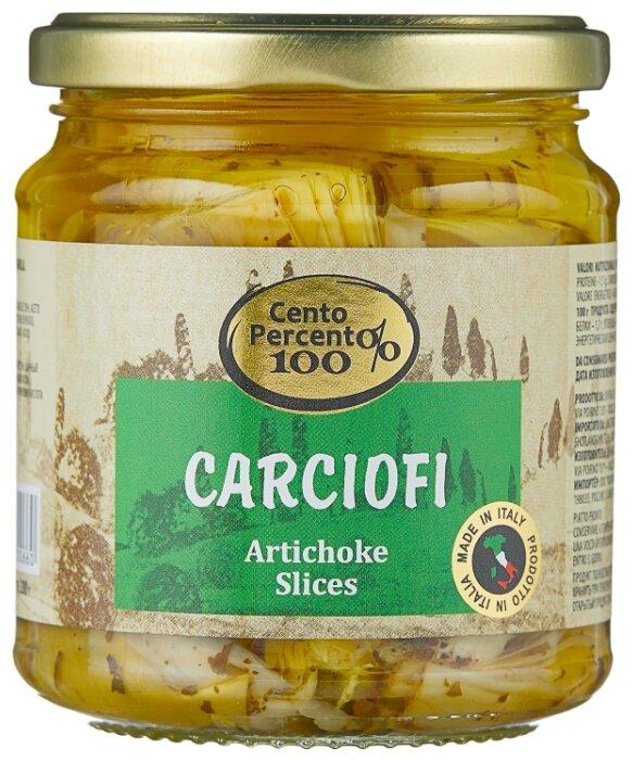 Carcifoli артишоки резаные Cento Percento стеклянная банка 280 г