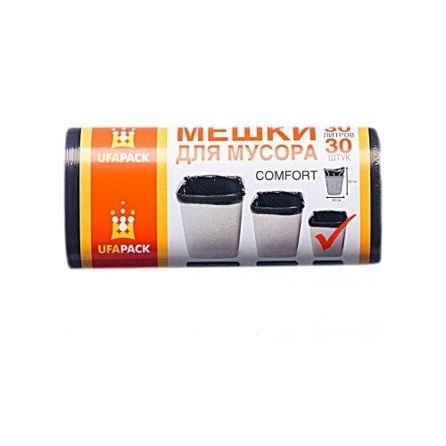 UFAPACK МН30-30ч Пакеты д/мусора 30 л. 30 шт. Черные мешки для мусора ufapack с ушками черные 35 л 30 шт