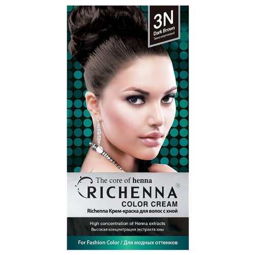 Richenna Крем-краска для волос с хной, 3N dark brown