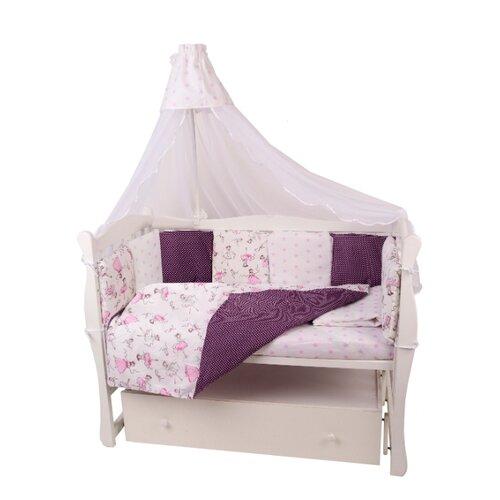Amarobaby комплект в кроватку Амели (7 предметов) вишня/белый