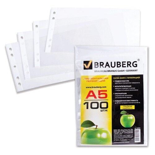 BRAUBERG Папки-файлы Яблоко А5 горизонтальные, комплект 100 штук прозрачный