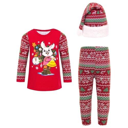 Комплект одежды Апрель размер 92-54, красный/новогодний орнамент, Комплекты  - купить со скидкой