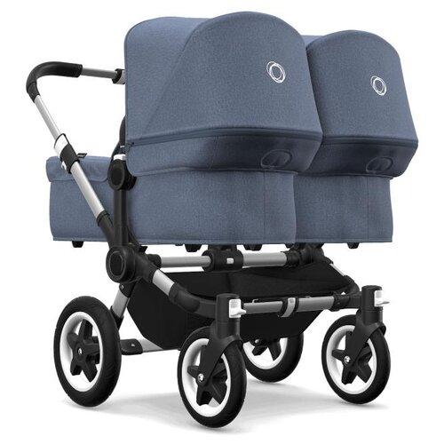 Универсальная коляска Bugaboo Donkey 2 Twin (2 в 1) Alu/Blue Melange/Blue Melange, цвет шасси: серебристый