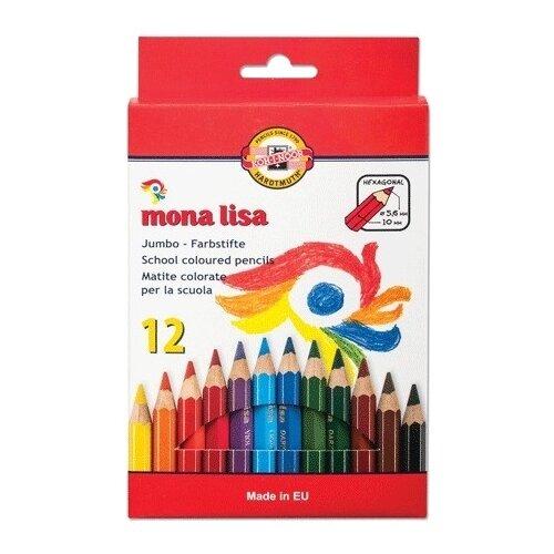 Купить KOH-I-NOOR Карандаши цветные утолщенные Mona Lisa, 12 цветов (3372012007KS), Цветные карандаши