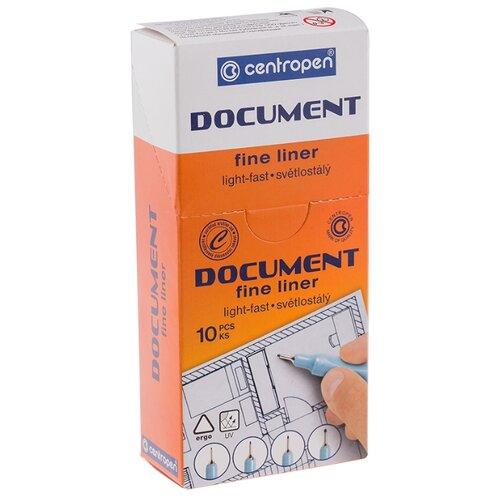 Купить Centropen Набор капиллярных ручек Document, 0.1 мм, 10 шт, синий цвет чернил, Ручки