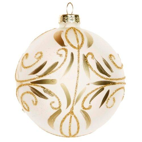 Набор шаров KARLSBACH 06865, белый с золотым узором, 6 шт.