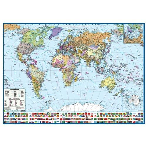 РУЗ Ко Политическая карта мира с флагами Крым в составе РФ (Кр191п)
