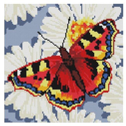 Мозаичная картина Бабочка на ромашках, 30x30 см