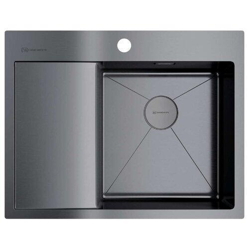 Интегрированная кухонная мойка 65 см OMOIKIRI Akisame 65-GM-R вороненая сталь кухонная мойка omoikiri akisame 78 gm r нерж сталь вороненая сталь 4973100