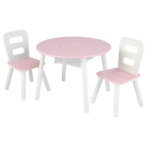Комплект KidKraft круглый стол + 2 стула (26165_KE, 26166_KE, 27027_KE) 60x60 см розовый/белый игровой стол kidkraft малыш 17508 ke