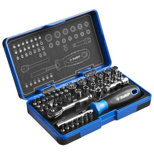 Набор бит и торцевых головок ЗУБР (47 предм.) 25283-H47 серебристый набор бит торцевых головок и ключей зубр эксперт 2654 h40 z01