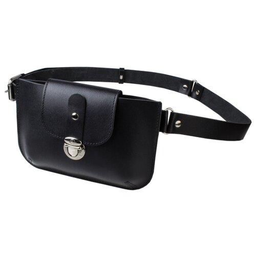 Сумка поясная MUMI, натуральная кожа, черный сумка поясная dimanche натуральная кожа металлик