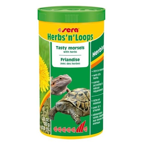 Сухой корм для рептилий Sera Herbs'n'Loops 1000 мл 120 г