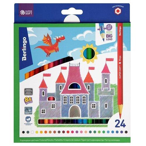 Купить Berlingo Карандаши цветные SuperSoft Замки 24 цвета (SS00124), Цветные карандаши