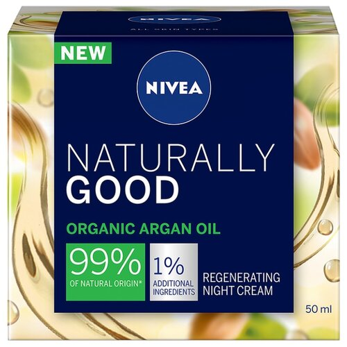 Nivea Naturally Good Regenerating Night Cream Organic Argan Oil Восстанавливающий ночной крем с аргановым маслом для лица, 50 мл chi luxury black seed oil curl defining cream gel