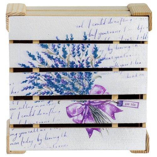 Фото - Коробка подарочная Дарите счастье Букет лаванды 20 x 10 x 20 см белый/сиреневый бумага упаковочная дарите счастье момент счастья 0 68 × 10 м сиреневый