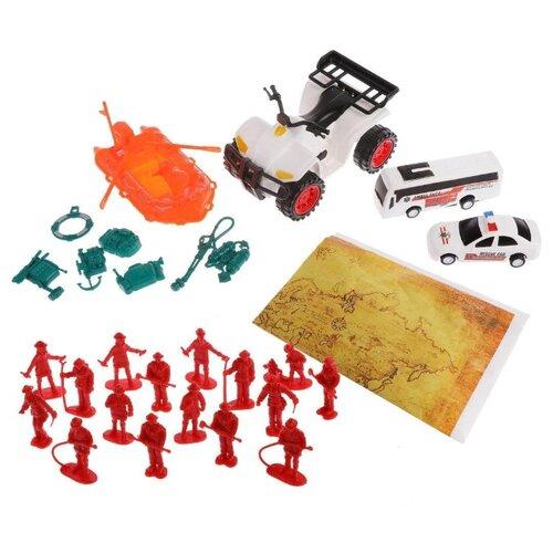 Купить Набор фигурок Наша Игрушка Спасатели, техника 4 шт, 16 фигурок, 8 аксессуаров, игровая карта (YH-19R), Наша игрушка, Игровые наборы и фигурки