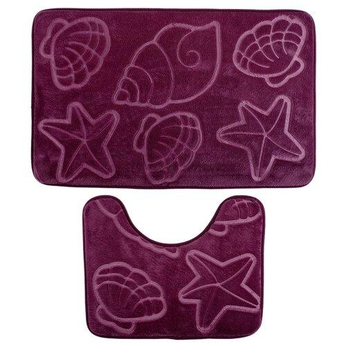 Комплект ковриков Доляна 1203337, 50х80, 40х50 см фиолетовый