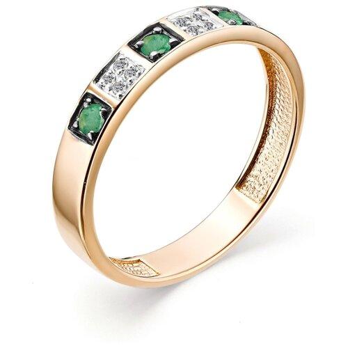 АЛЬКОР Кольцо с изумрудами и бриллиантами из красного золота 12842-101, размер 16.5