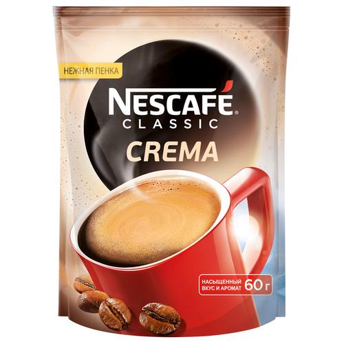 Кофе растворимый Nescafe Classic Crema с пенкой, пакет, 60 г nescafe classic crema кофе растворимый 70 г пакет