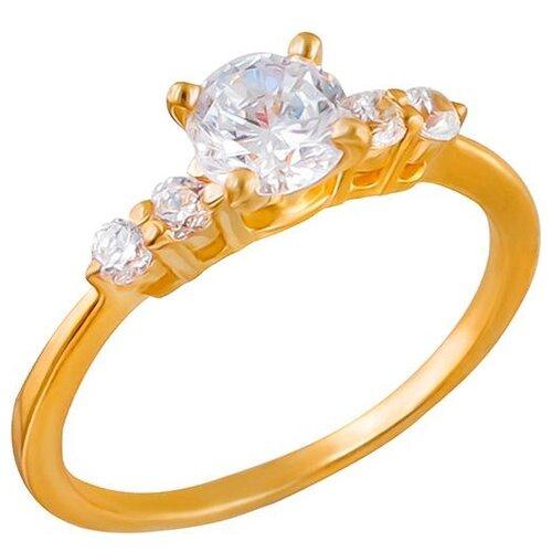 Эстет Кольцо с 5 фианитами из серебра с позолотой 01К1510414А, размер 17 эстет кольцо с фианитами из серебра 01к2511684 2 размер 17 5
