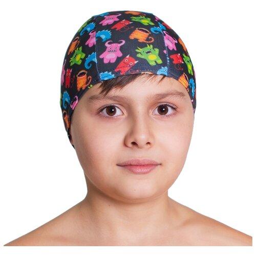 Шапочка для плавания Aruna Зубастики черный с принтом шапочка для плавания nabaiji шапочка для плавания тканевая с принтом размер l черно–зеленая