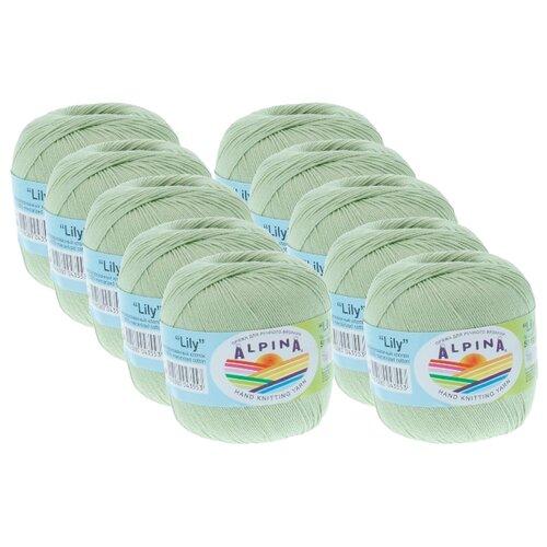Пряжа Alpina Lily, 100 % хлопок, 50 г, 175 м, 10 шт., №159 салатовый пряжа alpina katrin 100 % хлопок 50 г 140 м 10 шт 155 желтый синий белый салатовый