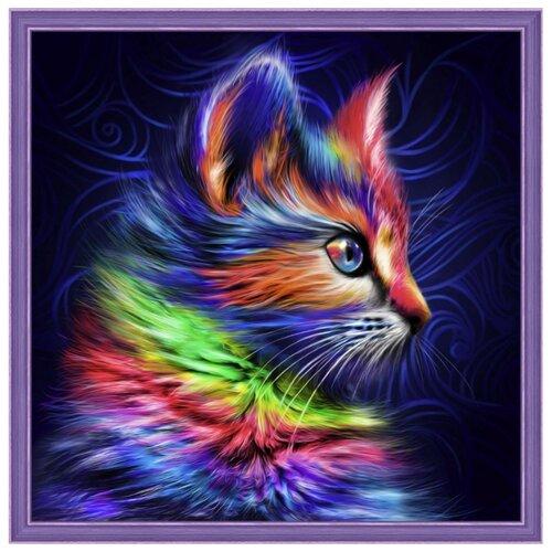 Алмазная живопись Набор алмазной вышивки Разноцветный котенок (АЖ-1777) 30х30 см алмазная живопись оригами фоторамка зая