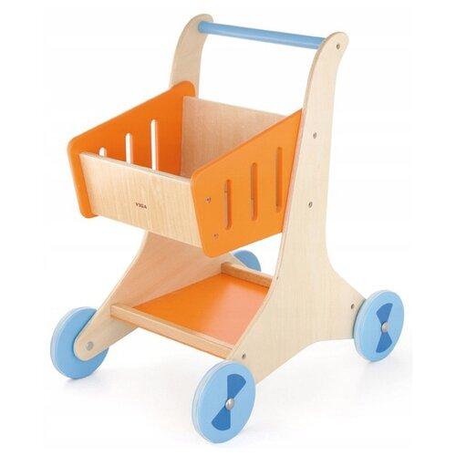 Купить Каталка-ходунки Viga Shopping Cart (50672) бежевый/оранжевый/голубой, Каталки и качалки