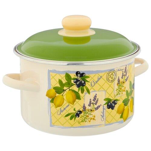 Кастрюля Appetite Citrus 3 л, белый/зеленый/желтый кастрюля эмалированная 3 0 л appetite citrus 6rd181m